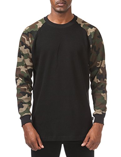 Pro Club Men's Heavyweight Baseball Thermal Raglan Long Sleeve Shirt, Small, Black/Green Camo ()