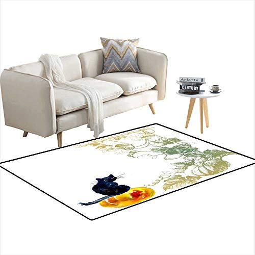 Room Home Bedroom Carpet Floor Mat Cat on Pumpkin Halloween Composition 4'x11'