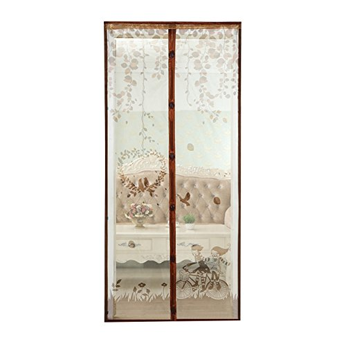 Adarl Magnetic Screen Door with Full Frame Velcro,Instant Retractable Screen Door,Bicycle Picture Eugenia Encrypted Mesh Curtain,Keeps Mosquitoes Out,Brown/Small