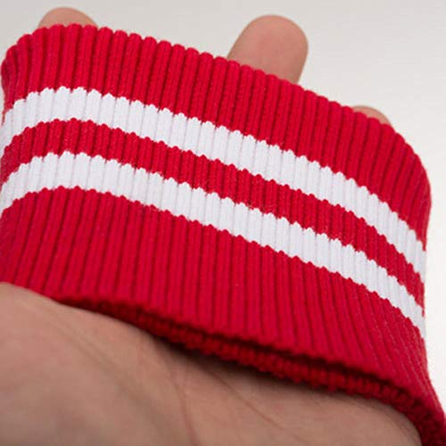 Fabric - 1 Pair 7x9cm Striped Knit Rib Cuff,Trim Clothing,Jacket,Coat Cotton Stretch Soft Cuffing (Red White)