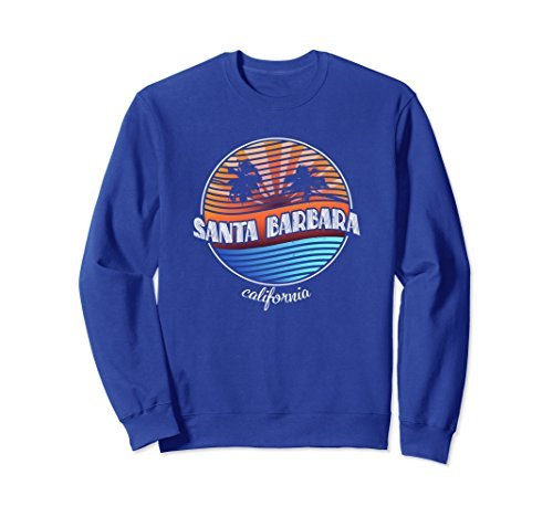 Unisex Retro Santa Barbara California Vintage 80s Summer Sweatshirt Medium Royal Blue ()