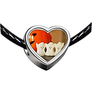 Chicforest Silver Plated three Halloween ghost pumpkin Photo Heart Charm Beads Fits Pandora Charms