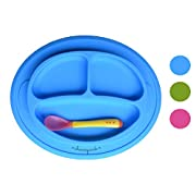 Non-slip Suction Placemat Combo. Includes Monkey Silicone Placemat and Spoon for Baby, Toddler & Kids. Ideal for Highchair Feeding, Kitchen Dining Table and Outdoors.