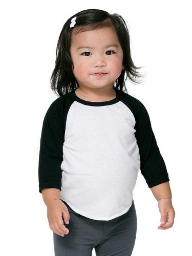 American Apparel Infant Poly-Cotton 3/4 Sleeve Raglan - White/Black / - Tees Apparel