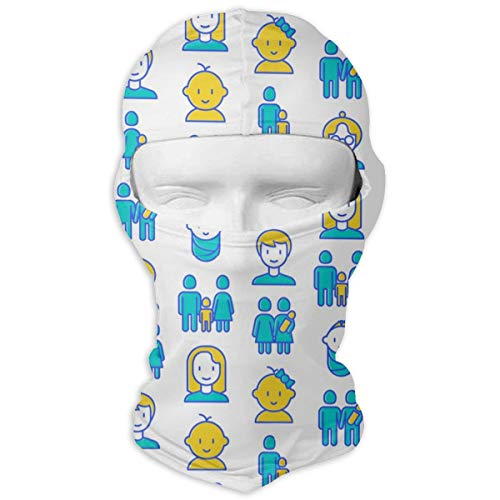 Comfortable Kid with Family Headcover Soft Balaclava Headwear Fit Full Hood Face Mask White