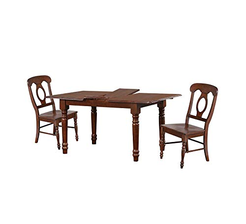Wood & Style Furniture Dining Set, Distressed Chestnut Finish Home Office Commerial Heavy Duty Strong ()