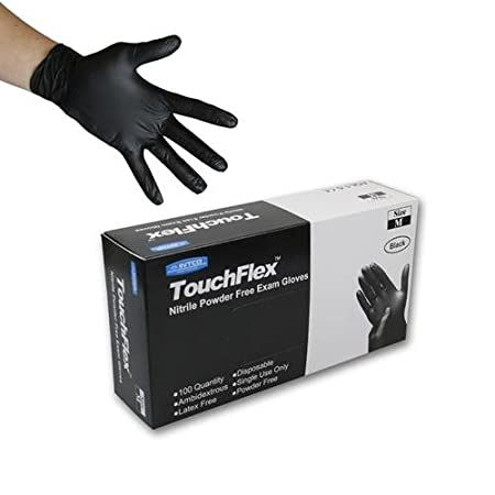 Touchflex Disposable Black Nitrile Gloves - Latex & Powder Free - Boxed x100 (Extra Large) Intco GL54XL