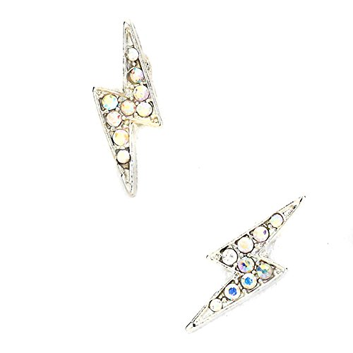 Silver Lightning Bolt Post Earrings with Aurora Borealis Crystals