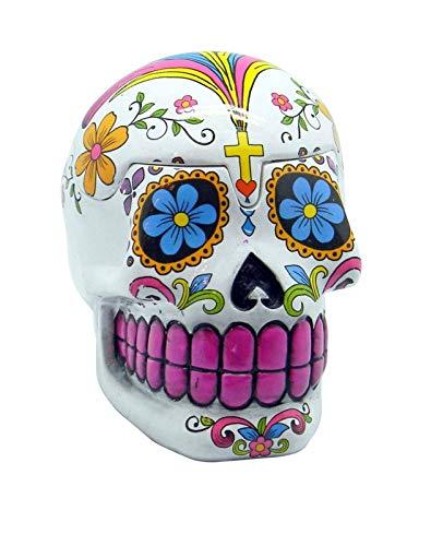 Fantasy Gifts White Sugar Skull Mexican Day of the Dead Trinket Box (Jar Ceramic Cookie Skull Sugar)
