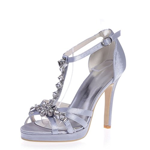 Clearbridal Women's Satin Open Toe Bridal Sandal for Wedding Prom Evening Party Shoes with Crystal ZXF5915-24 Silver apBjjVDW
