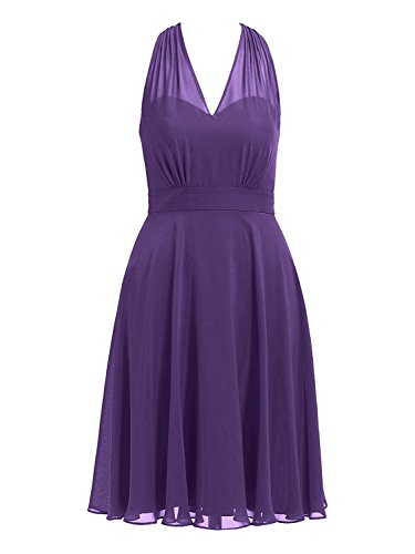 (Cdress Halter Short Bridesmaid Dresses Chiffon Prom Homecoming Dress V-Neck Party Cocktail Gowns US 26W Purple)