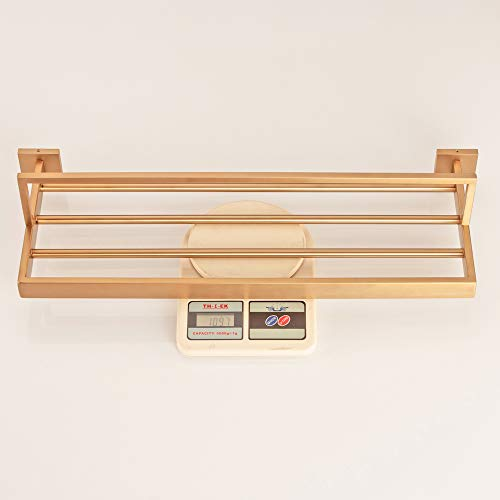 WINCASE Bathroom Bath Towel Shelf, Towel Holder, Brushed Gold Finished 23.6 Inch Solid Stainless Steel Construction, Vintage Style Wall Mounted by WINCASE (Image #5)