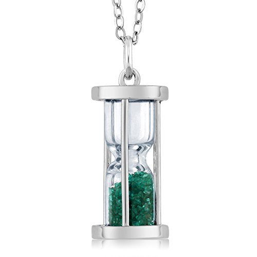 """Sterling Silver Hourglass Pendant with 0.75 Ct Emerald Dust & 18"""" Chain"""