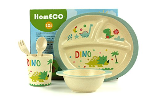 Kids Dinner Ware Set Bamboo fiber Bowl, Plate,Cup,Fork & Spoon, BPA Free,FDA&LFGB Food Safety Approval (Little (Bamboo Plate Set)