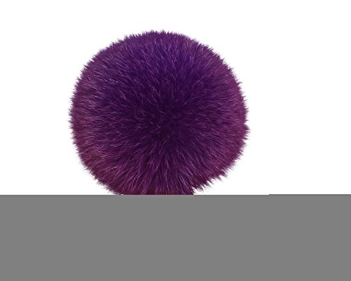 ETENOVA Genuine Fox Fur Pom Pom Keychain Bag Car Purse Charm Fluffy Fur Ball Gold Ring