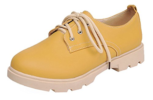Showhow Womens Confortable Bout Rond Bas Bas Lace Up Sneakers Jaune.  chaussures ...