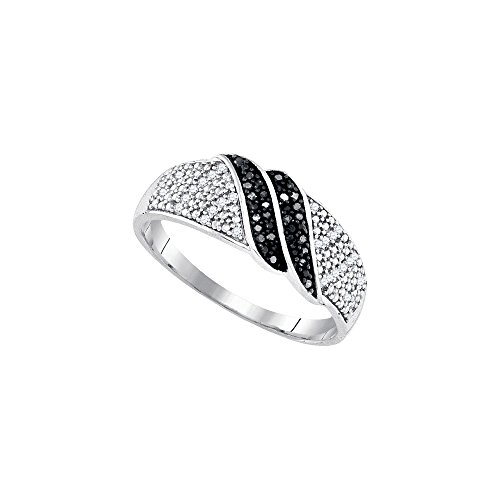 Sterling Silver Womens Round Black Colored Diamond Double Row Crossover Band 1/6 Cttw by JAWAFASHION