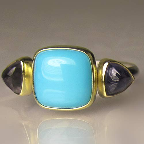 Sleeping Beauty Turquoise and Iolite Ring in 18k Gold and Sterling Silver (3 Stone Iolite Ring)