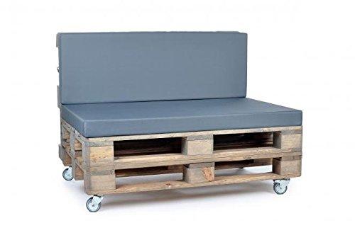 Palettenkissen, Gartenmöbel Auflagen, Sitzbankauflage, Matratzenauflagen auch m. Rückenlehne bzw. Dekokissen in Nylon, grau, wasserabweisend und strapazierfähig