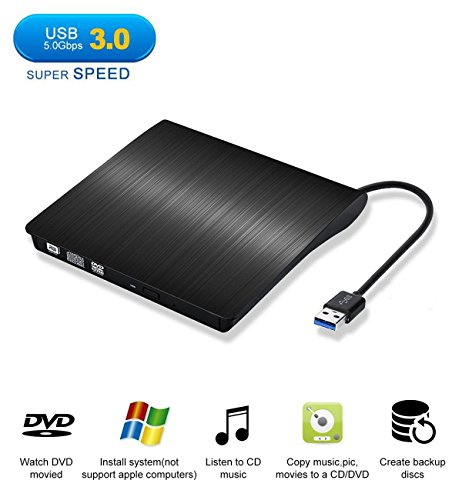 B 3.0 Slim External DVD CD Drive, MKROYO High Speed Data Transfer DVD/CD +/-RM Writer Burner Rewriter DVD CD ROM Drive for Macbook Pro/Laptops/Desktops/Notebook(Black) (Dl Dvd Writer)