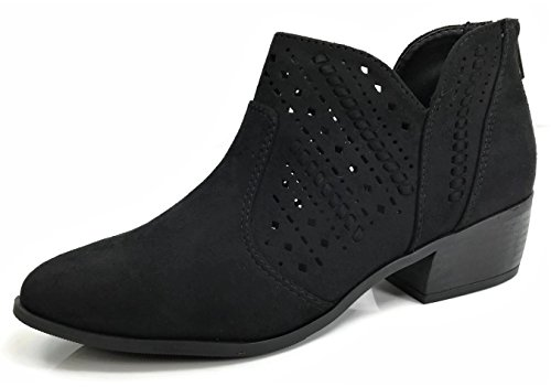 Soda Women's Emerge-S Perforated Side V Cut Low Heel Ankle Bootie (Black Suede, 7.5 M US)