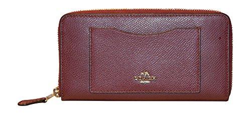 Coach Crossgrain Leather Accordian Zip Wallet, Burgundy
