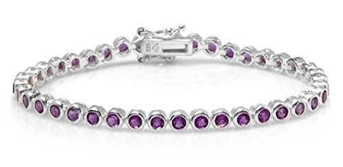 Dazzlingrock Collection 10.00 Carat (ctw) Real Round Cut Bezel Set Genuine Purple Amethyst 925 Tennis Bracelet (7.50 Inch Length x 0.15 Inch Wide), Sterling Silver