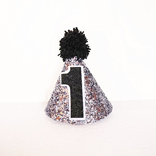 Birthday Glitter Mini Party Hat Party Decorations Silver/ Black/ White (Curious George Astronaut Costume)