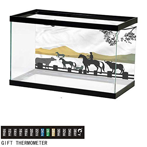 (Suchashome Fish Tank Backdrop Western,Silhouette of Cowboy Ranch,Aquarium Background,36