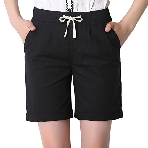 Chartou Women's Modest Loose Elastic-Waisted Bermuda Drawstring Casual Shorts (XX-Large, Black) (Large Casual Shorts)