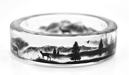New Arrival Handmade Deer in the Mountains Transparent Resin Women/Men's Charm Ring