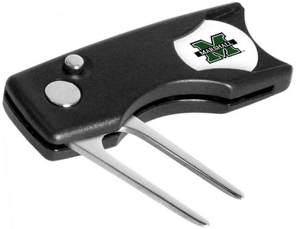 (Marshall Thundering Herd Spring Action Divot Tool with Golf Ball Marker (Set of)