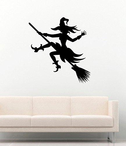 Halloween Vinyl Wall Decals Witch on the Broom Halloween Fly Spells Decor Stickers Vinyl Mural MK4470 ()