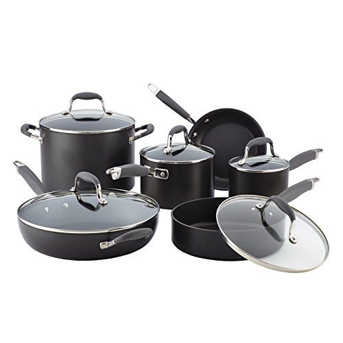 Oven Cookware Anolon Set Safe - Anolon 82676 11-Piece Hard Anodized Aluminum Cookware Set, Gray