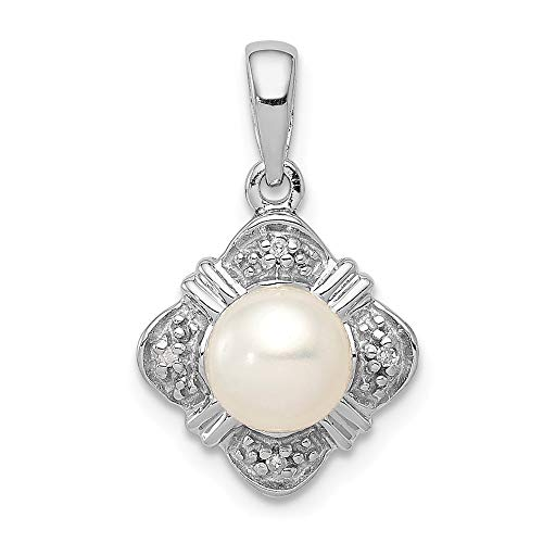 925 Sterling Silver Freshwater Cultured Pearl Diamond Pendant Charm Necklace Fine Jewelry Gifts For Women For Her