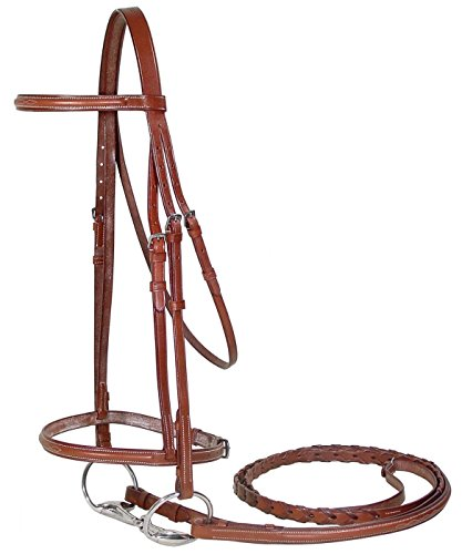 Paris Tack Fancy Stitch Bridle with Laced Reins, Chestnut, Pony ()