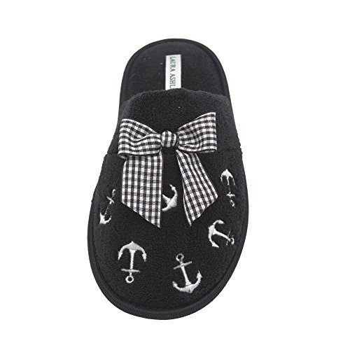 Soft Colors Terry Black Ashley Sizes More Slipper Ladies Scuff amp; Embroidered Anchor See Laura q6tUnvx6