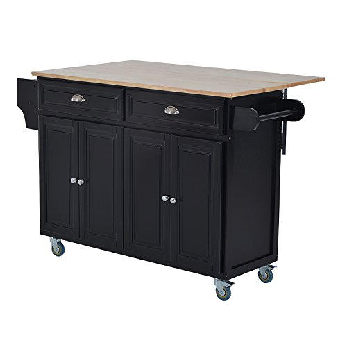 Bar Island Countertop - HOMCOM Wood Top Drop-Leaf Rolling Kitchen Island Table Cart on Wheels - Black