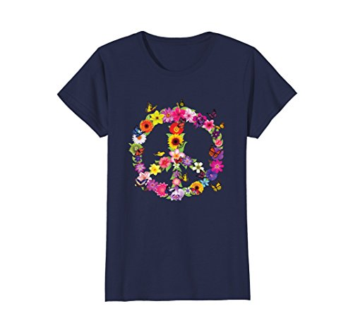 Womens Butterfly Peace Sign Floral Flower Garden Nature T-Shirt XL - Floral Sign Peace