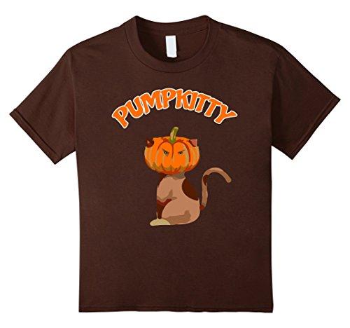 Kids Pumpkin Spice Pumpkitty Autumn Kitty Cat Novelty T-Shirt 6 Brown
