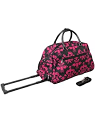 All-Seasons Designer Prints Damask 21-inch Carry-On Rolling Duffel Bag