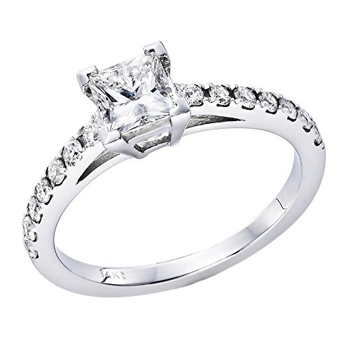 0.90-0.70 cttw IGI Certified Diamond Engagement Ring in 14K White Gold (0.70 – 0.90 cttw, L-M Color, I1-I2 Clarity)