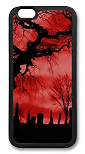 iphone 6 4.7inch Case and Cover Red Cemetery TPU Silicone Rubber Case Cover for iphone 6 4.7inch Black