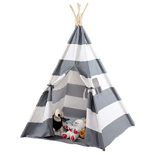BeUniqueToday-5-Portable-Indian-Children-Sleeping-Dome-Play-Tent-Playhouse-Folding-Indoor-and-Outdoor-Picnic-Travel-Tent-wCarry-BagWhite-Gray
