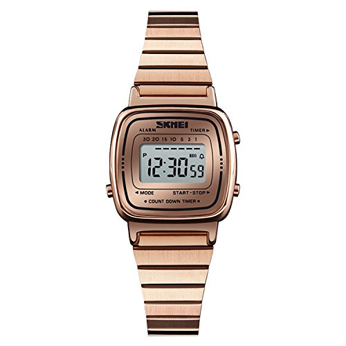 (Women's Classic Simple Petite Electronic Watch Stainless Steel Square Slim Watch Girls Boys Digital Watch)