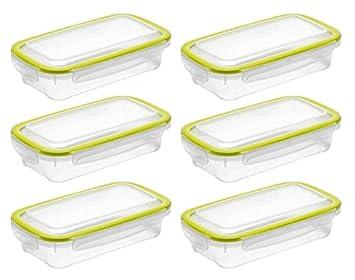 6 x Addis CleanSeal 500 ml rectangular contenedores de alimentos higiénico sellado fijo hermético hermético lavavajillas microondas congelador: Amazon.es: ...