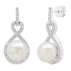 Women's Freshwater Pearl & Diamond Infinity Drop Earrings