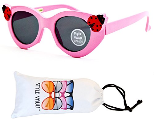 Kd33-vp infant toddler Kids Childrens girls (6 month~ 2 year old) cateye Sunglasses (B2719F Pink-Dark, - Old Sunglasses 6 Month