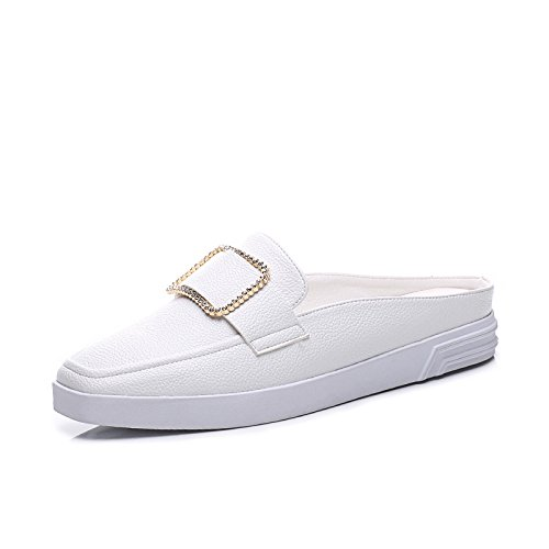ZPPZZP Ms sandali rilassatevi in coreano-stile estate piatta Baotou Capo bianco 36EU