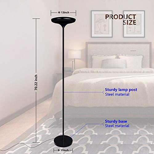 FaithSail Color Changing LED Torchiere Floor Lamp, Remote Control 24W (200W Equivalent), Dimmable and Adjustable, Reading Uplight Standing Floor Light for Bedrooms, Living Room and Office by FAITHSAIL (Image #5)